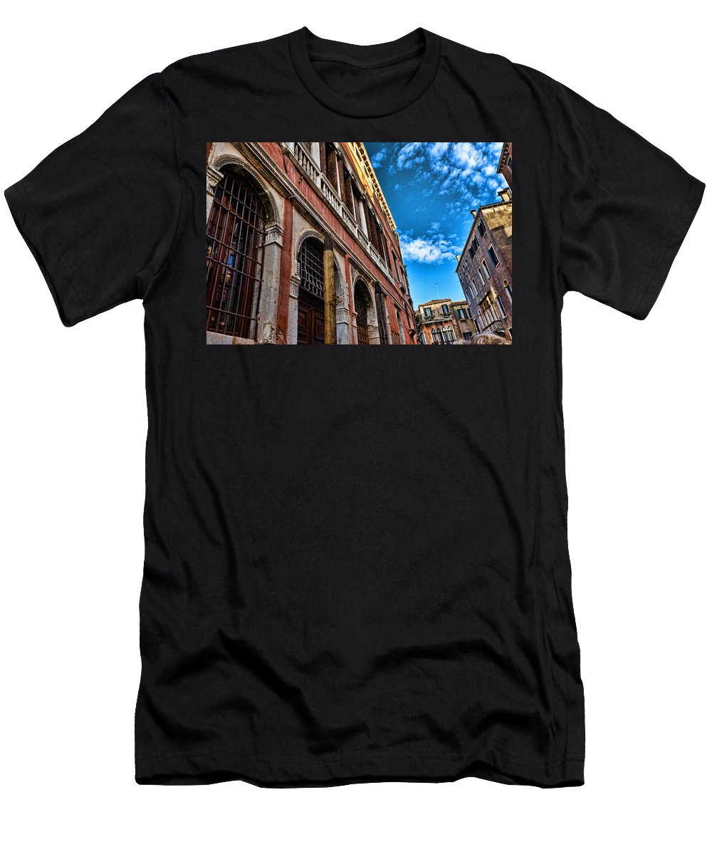 Blue Sky Men's T-Shirt (Athletic Fit) featuring the photograph Gondola View by Jon Berghoff