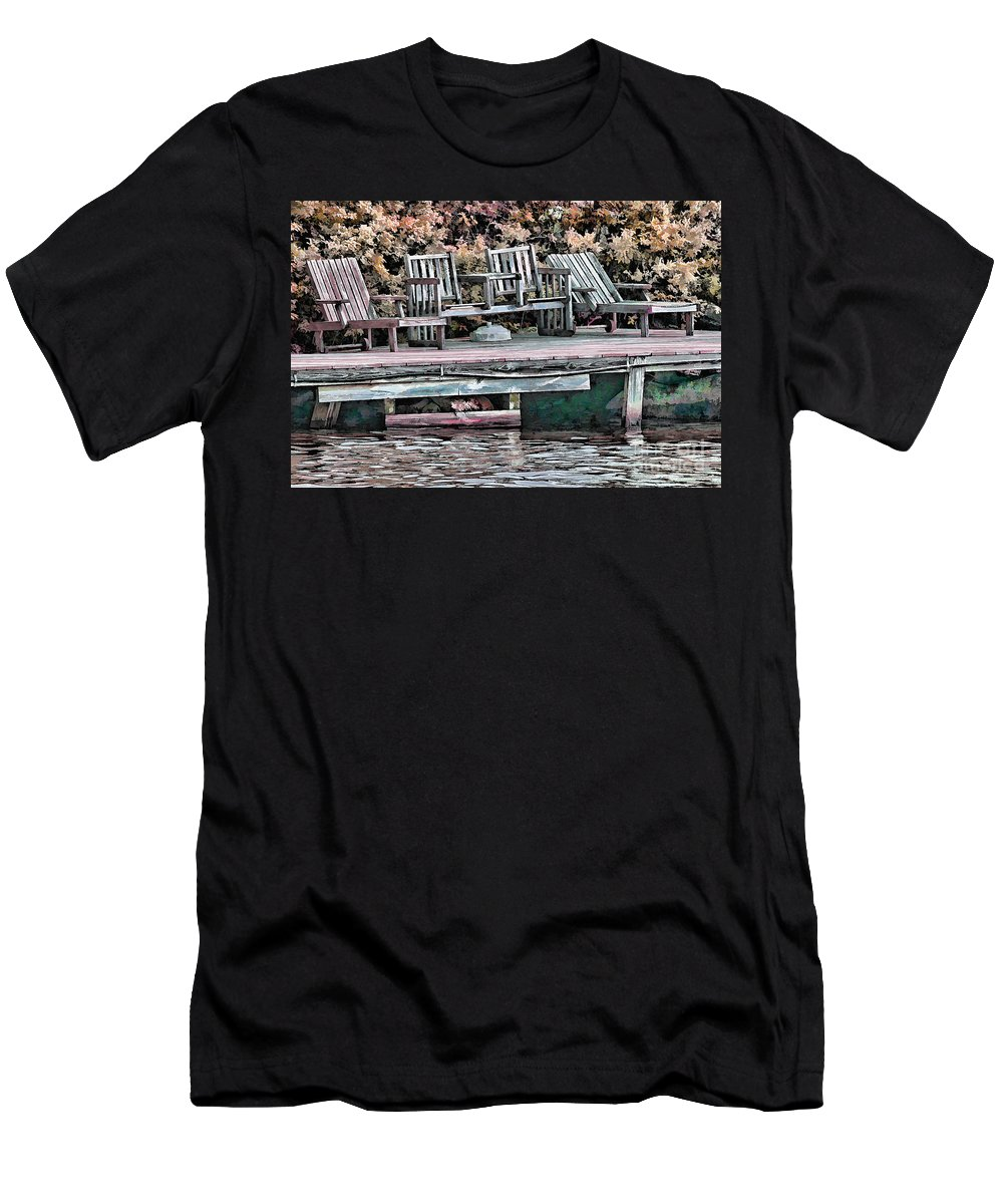 Lake Photographs Men's T-Shirt (Athletic Fit) featuring the photograph Gone Fishing by Tom Prendergast