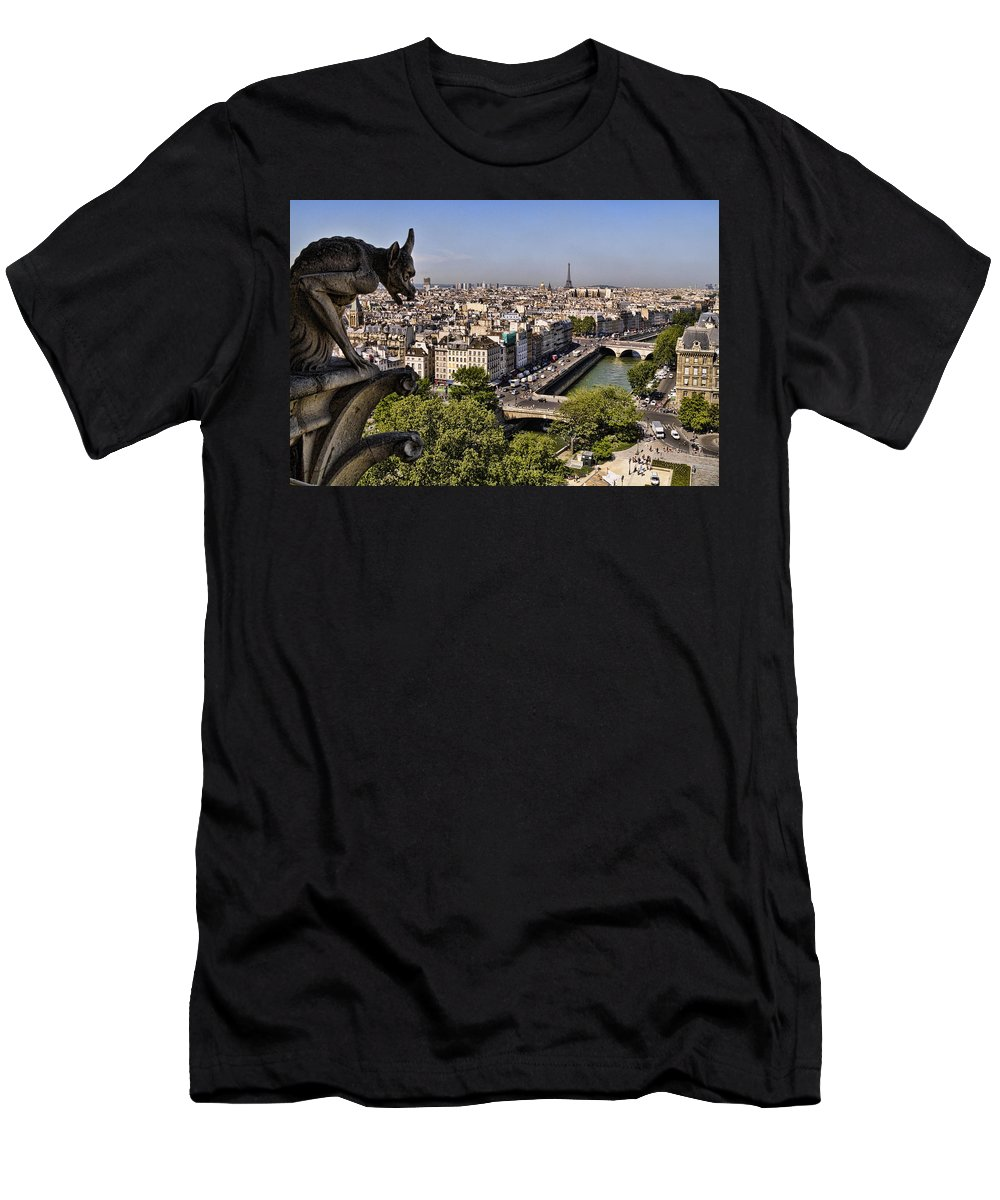 Gorgyle View Of Paris Men's T-Shirt (Athletic Fit) featuring the photograph Gorgyle View Of Paris by Wes and Dotty Weber