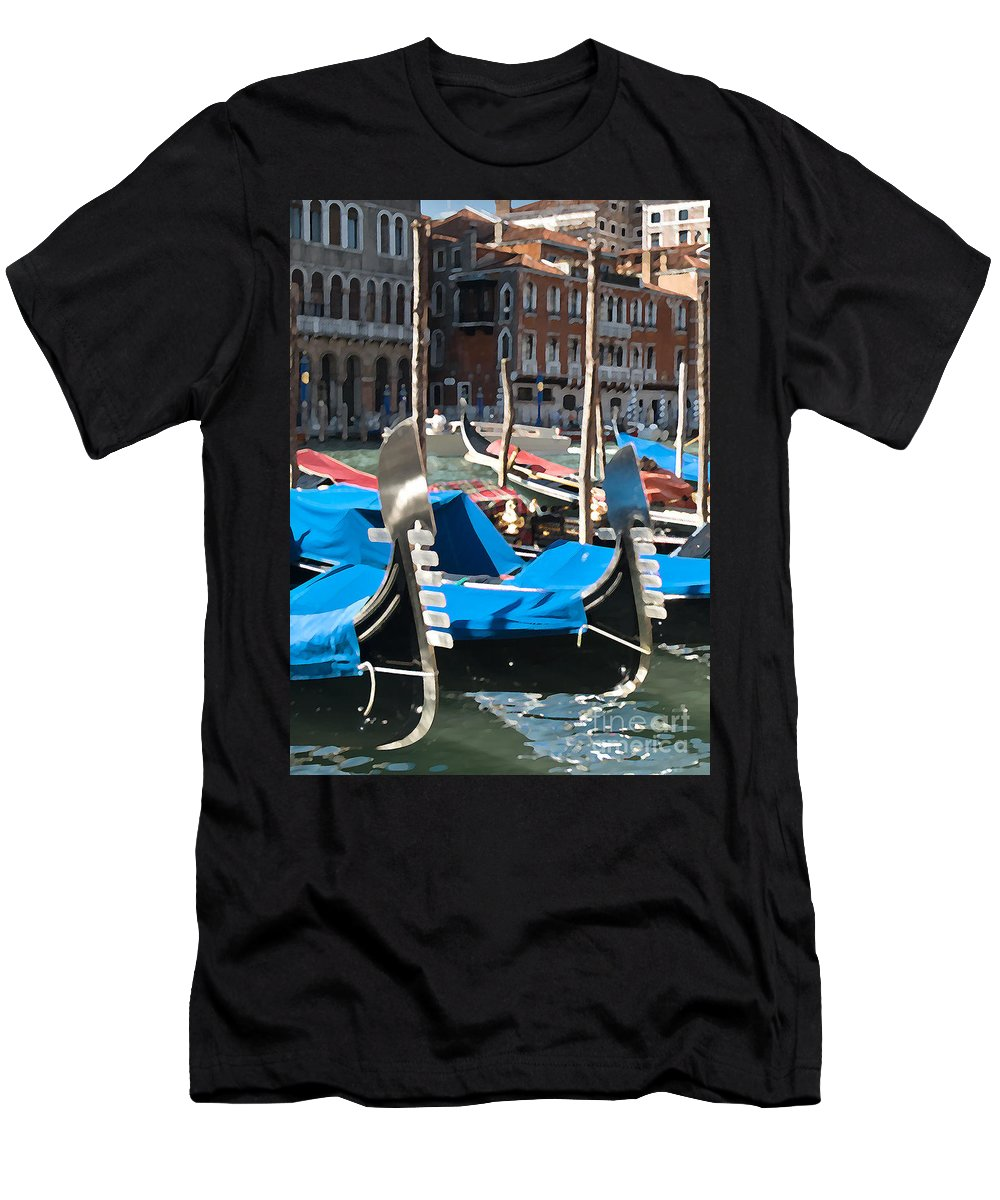 Sea Men's T-Shirt (Athletic Fit) featuring the photograph Grand Canal Gondolas Painting by Jim Chamberlain
