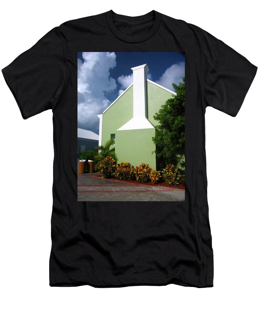 Grand Turk Men's T-Shirt (Athletic Fit) featuring the photograph Grand Turk Store Building by Denise Keegan Frawley