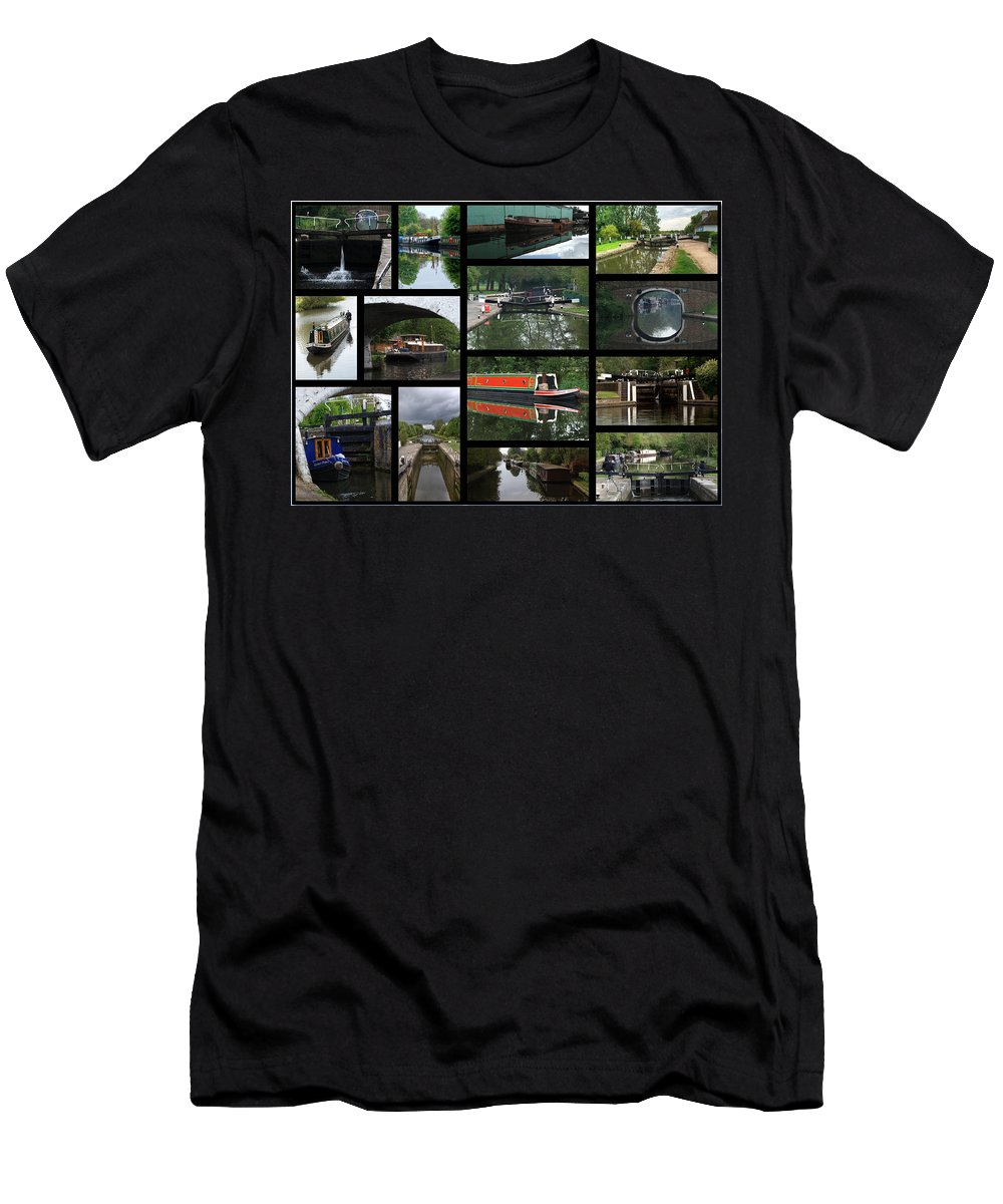 Grand Union Canal Men's T-Shirt (Athletic Fit) featuring the photograph Grand Union Canal Collage by Chris Day