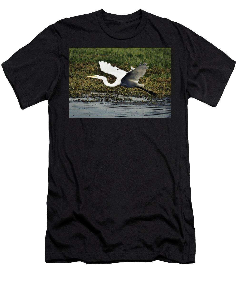 Great Egret Men's T-Shirt (Athletic Fit) featuring the photograph Great Egret In Flight by Saija Lehtonen