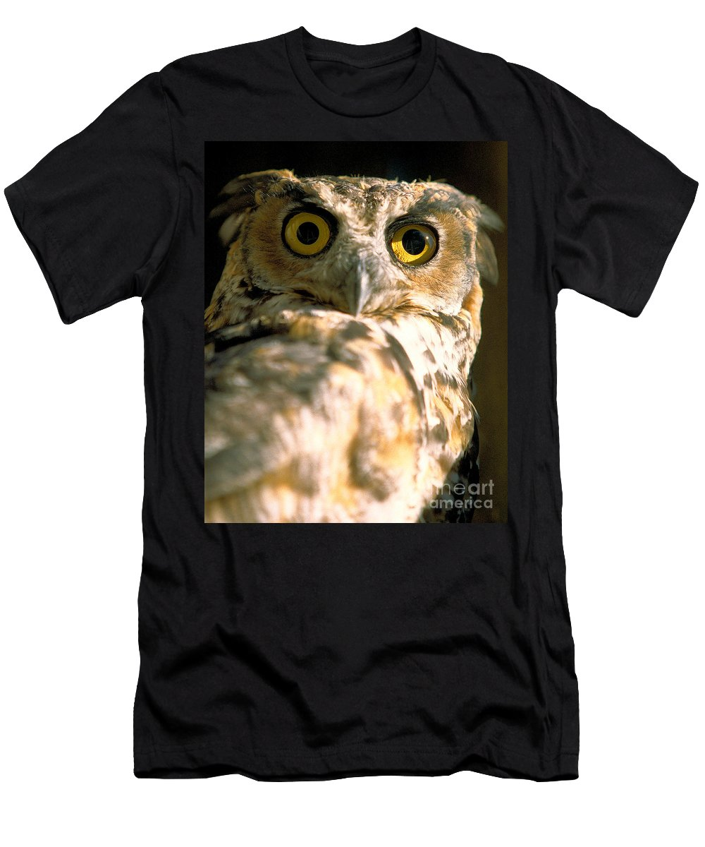 Birds Men's T-Shirt (Athletic Fit) featuring the photograph great horned Owl by Matt Suess
