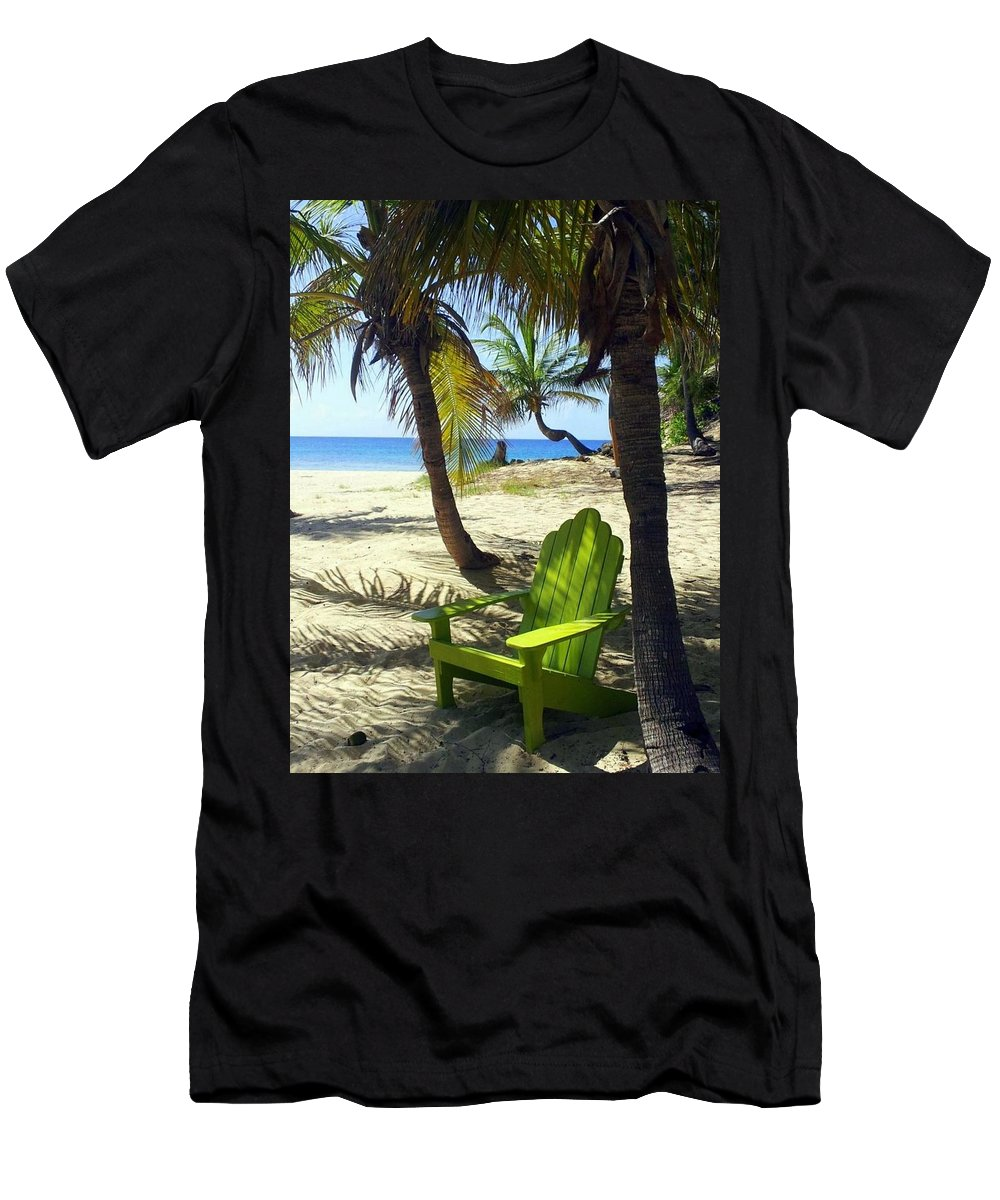 Beach Men's T-Shirt (Athletic Fit) featuring the photograph Green Chair On The Beach by Carla Parris