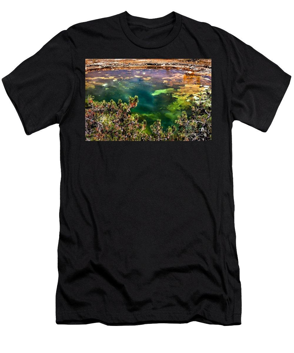 Paint Pots Men's T-Shirt (Athletic Fit) featuring the photograph Green Paint Pot by Robert Bales