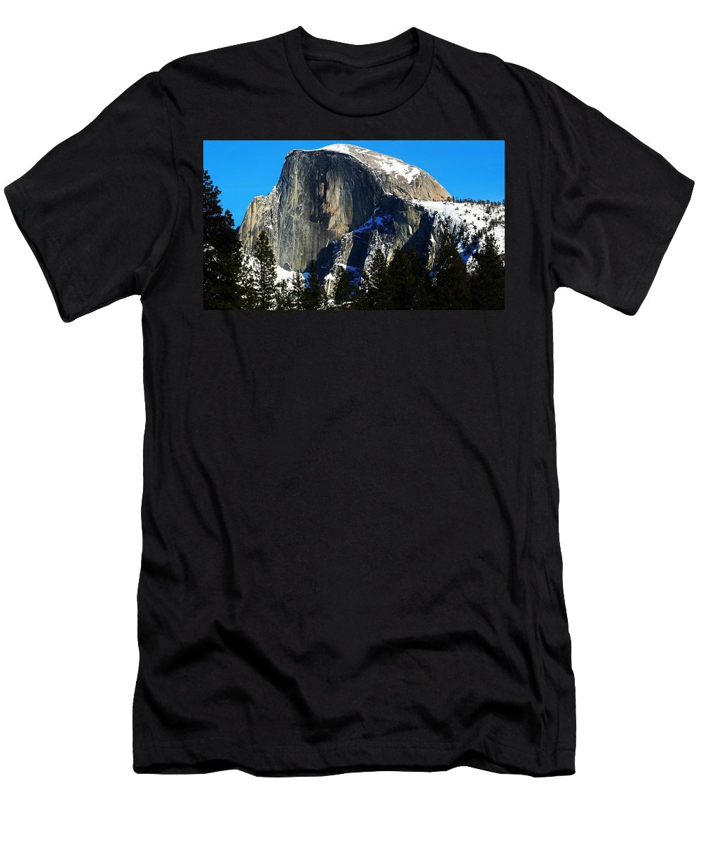 Yosemite National Park Men's T-Shirt (Athletic Fit) featuring the photograph Half Way Half Dome by Phil Cappiali Jr