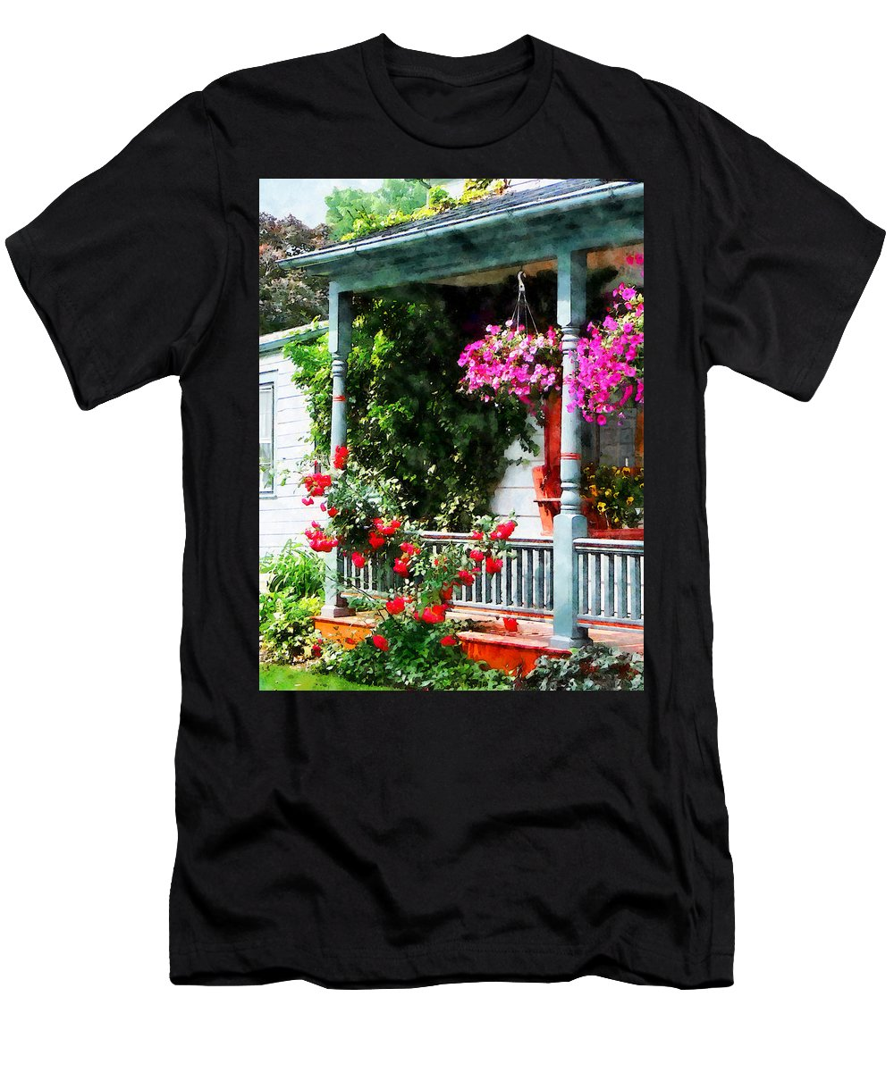 Hanging Baskets Men's T-Shirt (Athletic Fit) featuring the photograph Hanging Baskets And Climbing Roses by Susan Savad