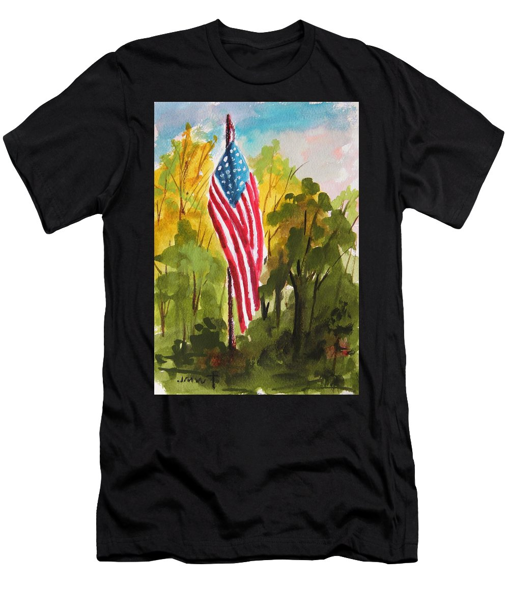 American Flag Men's T-Shirt (Athletic Fit) featuring the painting Hanging Gracefully by John Williams