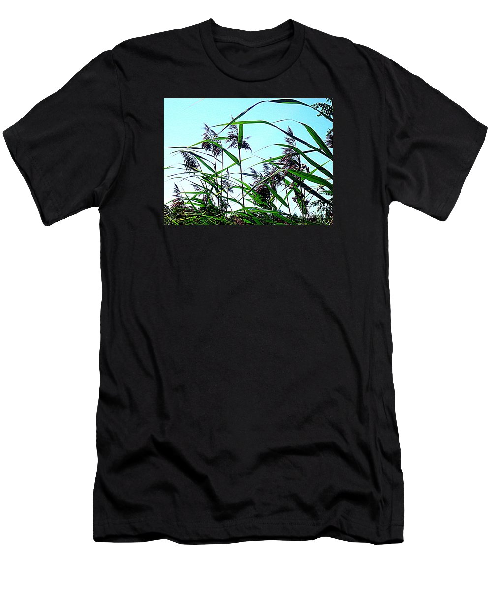 Blue Canvas Prints Men's T-Shirt (Athletic Fit) featuring the photograph Hay In The Summer by Pauli Hyvonen