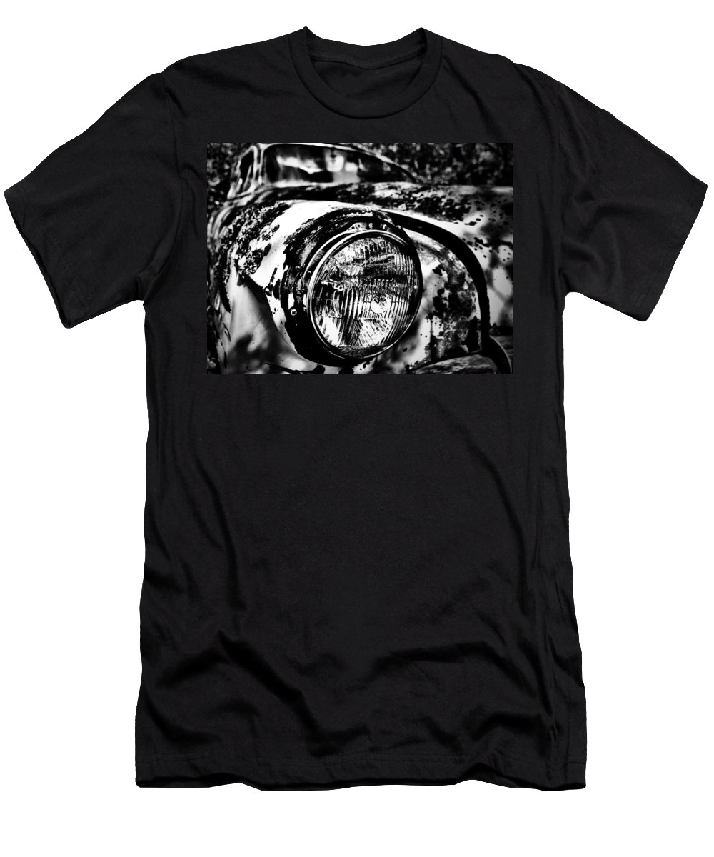 Well Men's T-Shirt (Athletic Fit) featuring the photograph Headlights In The Woods by The Artist Project