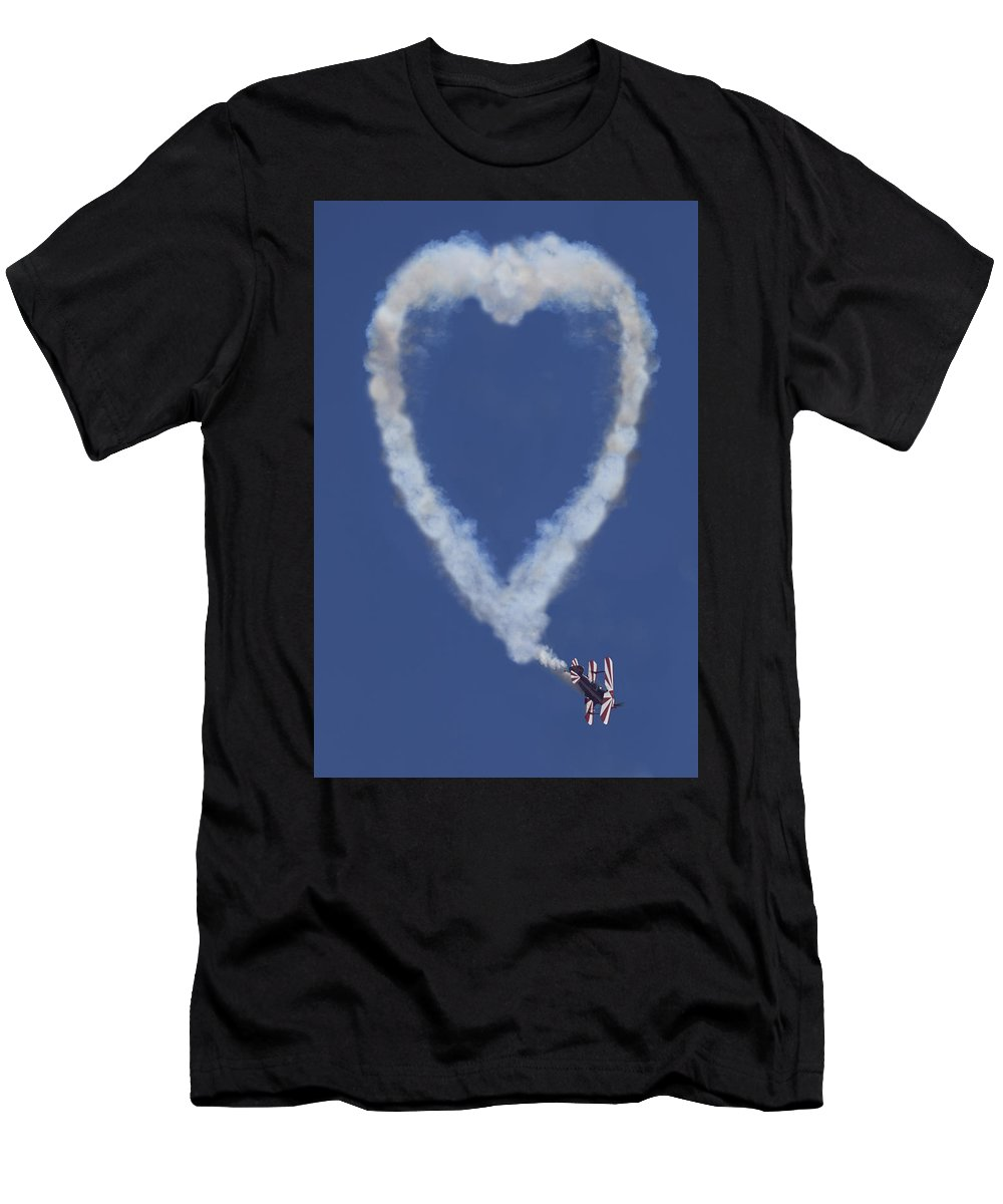Plane Men's T-Shirt (Athletic Fit) featuring the photograph Heart Shape Smoke And Plane by Garry Gay