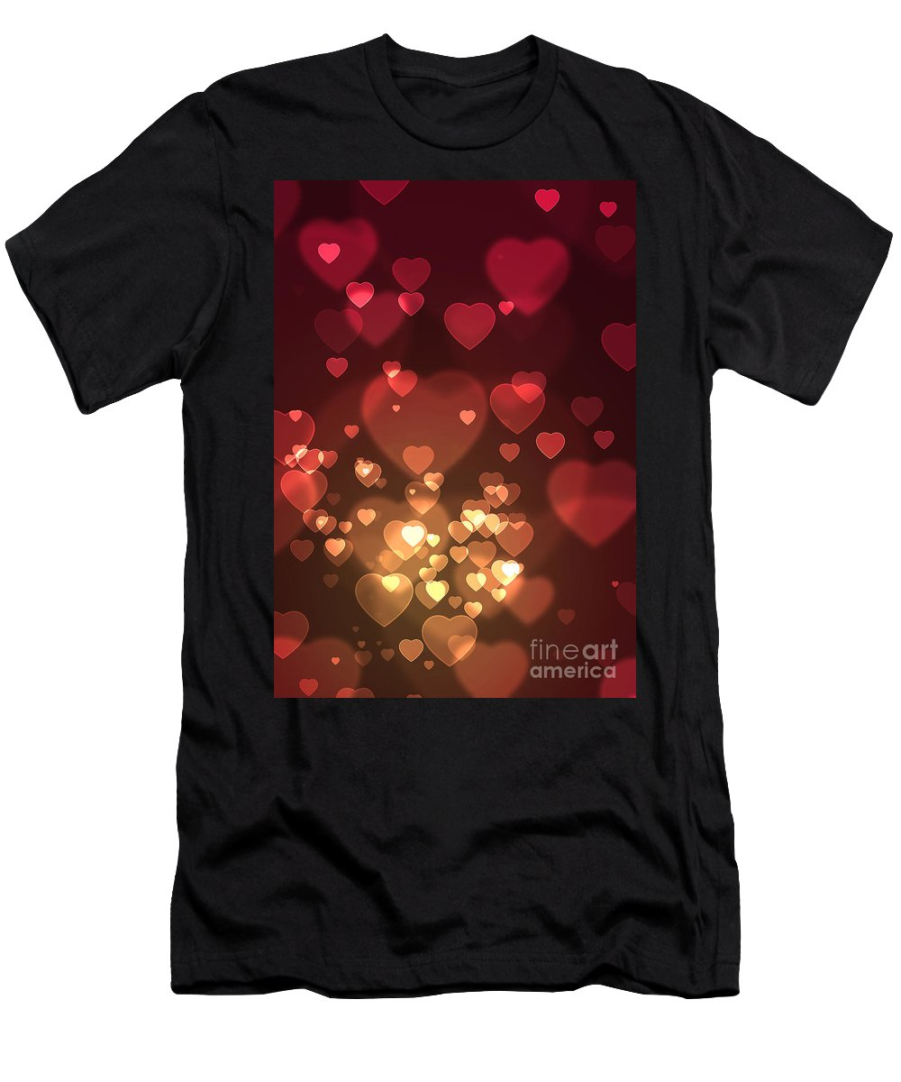 Abstract Men's T-Shirt (Athletic Fit) featuring the photograph Hearts Background by Carlos Caetano