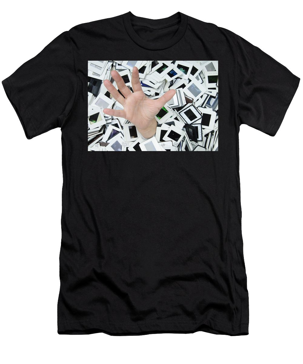Slides Men's T-Shirt (Athletic Fit) featuring the photograph Help - Too Many Slides by Matthias Hauser
