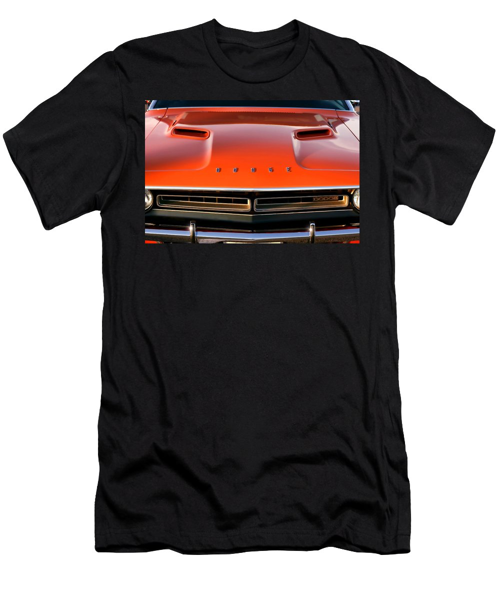 1971 Men's T-Shirt (Athletic Fit) featuring the photograph Hemi Orange 1971 Dodge Challenger by Gordon Dean II