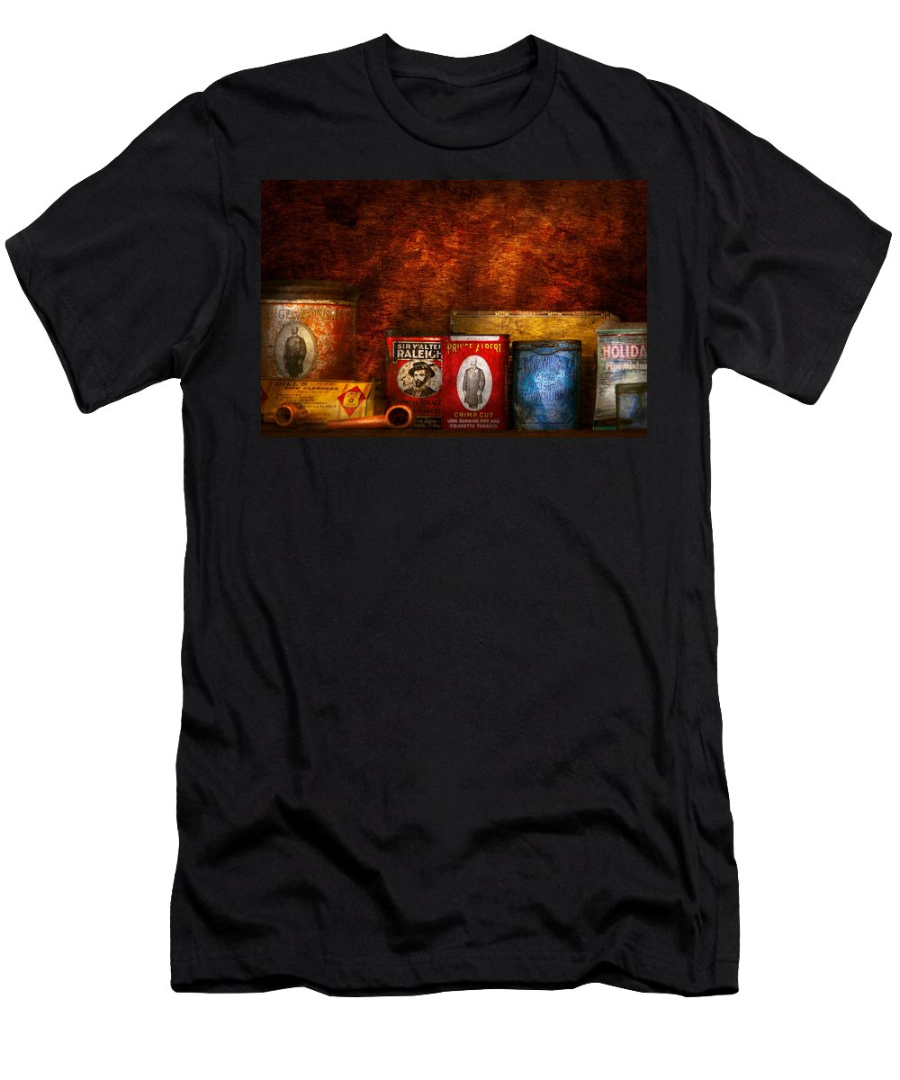 Smoking Men's T-Shirt (Athletic Fit) featuring the photograph Hobby - Smoker - Smoking Pipes by Mike Savad
