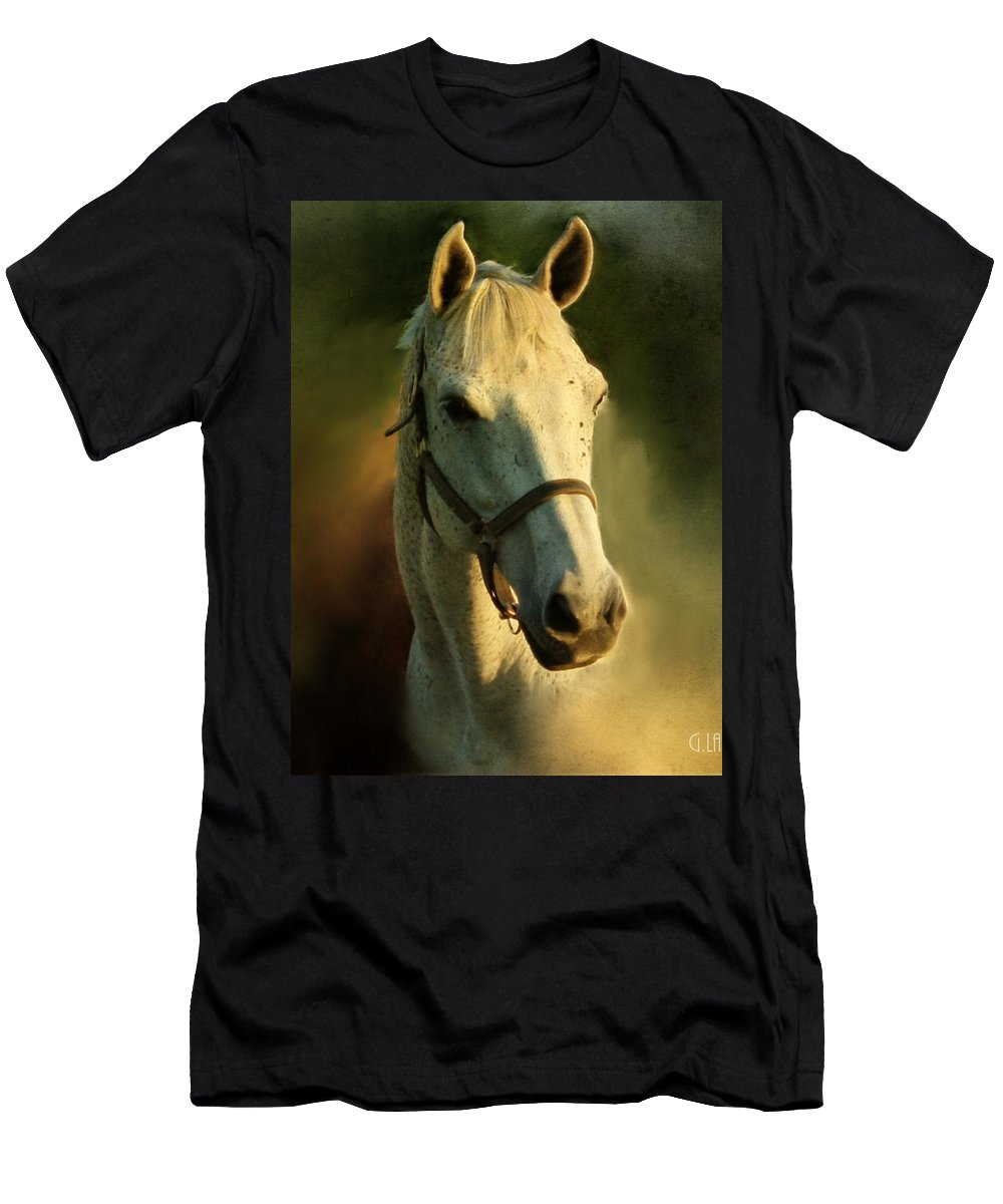 Horse Men's T-Shirt (Athletic Fit) featuring the painting Horse Head Portriat by George Lai