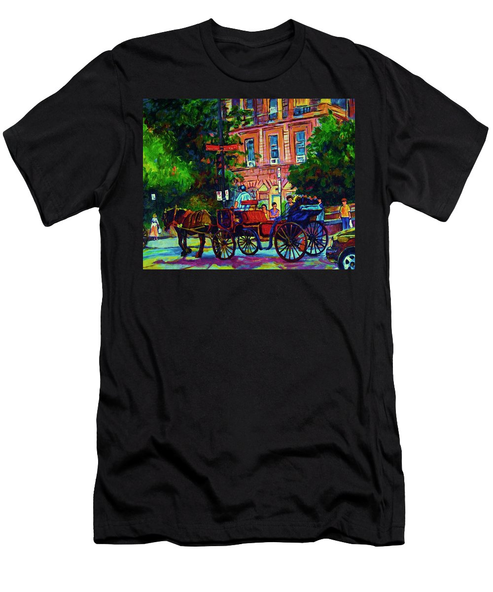 Rue Notre Dame T-Shirt featuring the painting Horsedrawn Carriage by Carole Spandau