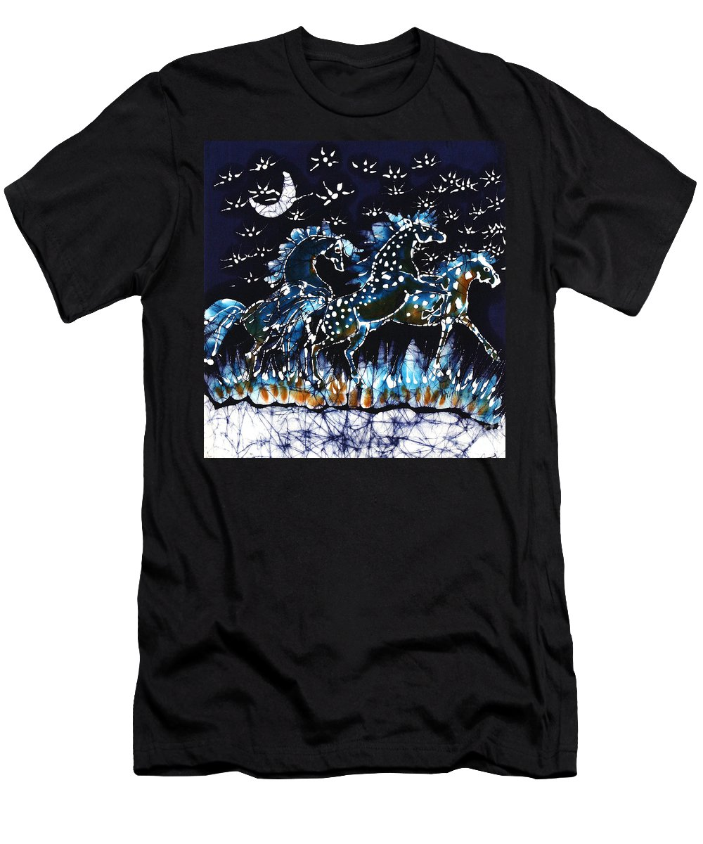 Horses Men's T-Shirt (Athletic Fit) featuring the tapestry - textile Horses Frolic On A Starlit Night by Carol Law Conklin