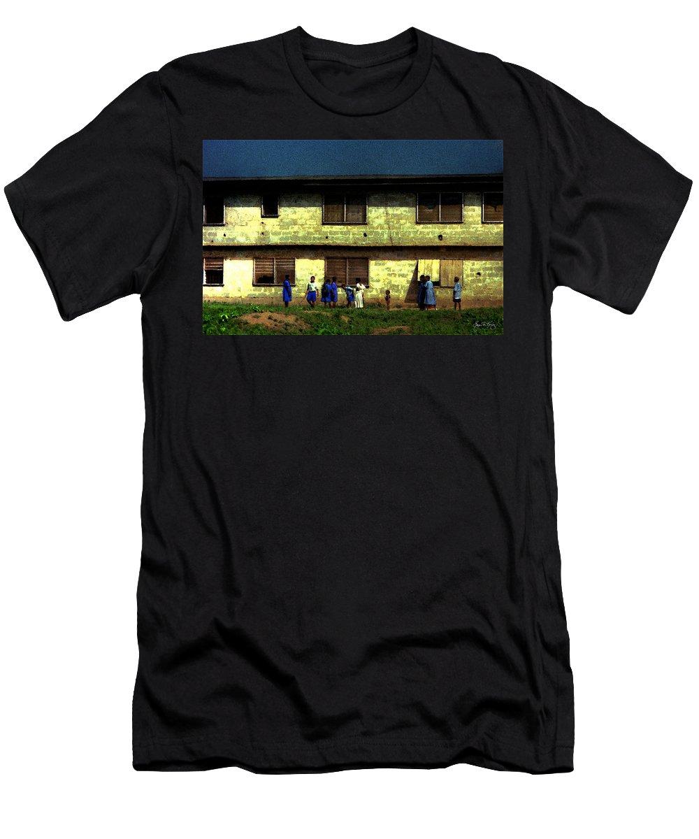 School Children Men's T-Shirt (Athletic Fit) featuring the photograph Ibadan School Children by Wayne King