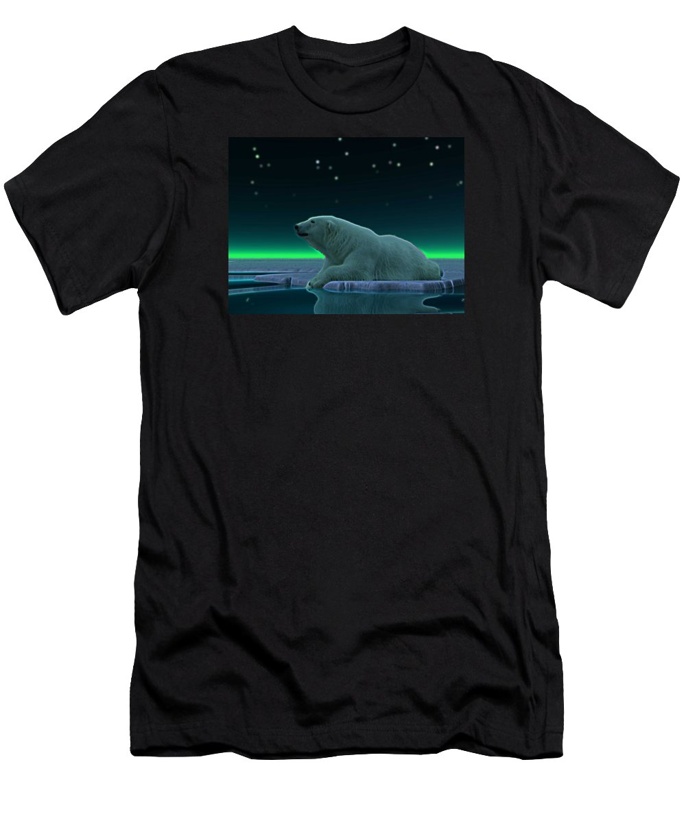 Bear polar Bear ursus Maritimus Arctic ice Pack Ice north Pole Wildlife Animals Nature northern Lights aurora Borealis Men's T-Shirt (Athletic Fit) featuring the digital art Ice Edge by David Devoe