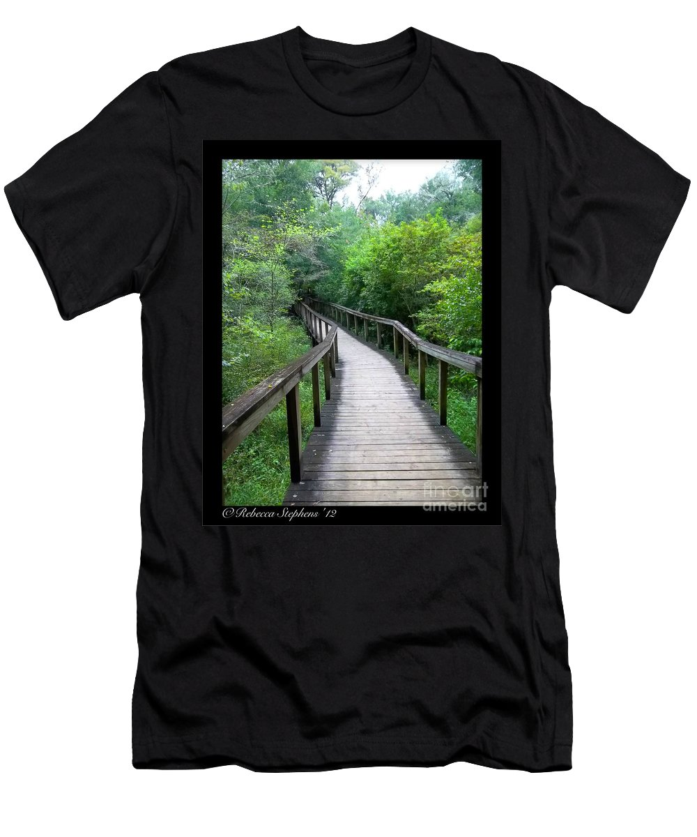 Ichetucknee Men's T-Shirt (Athletic Fit) featuring the photograph Ichetucknee Forest Pathway by Rebecca Stephens