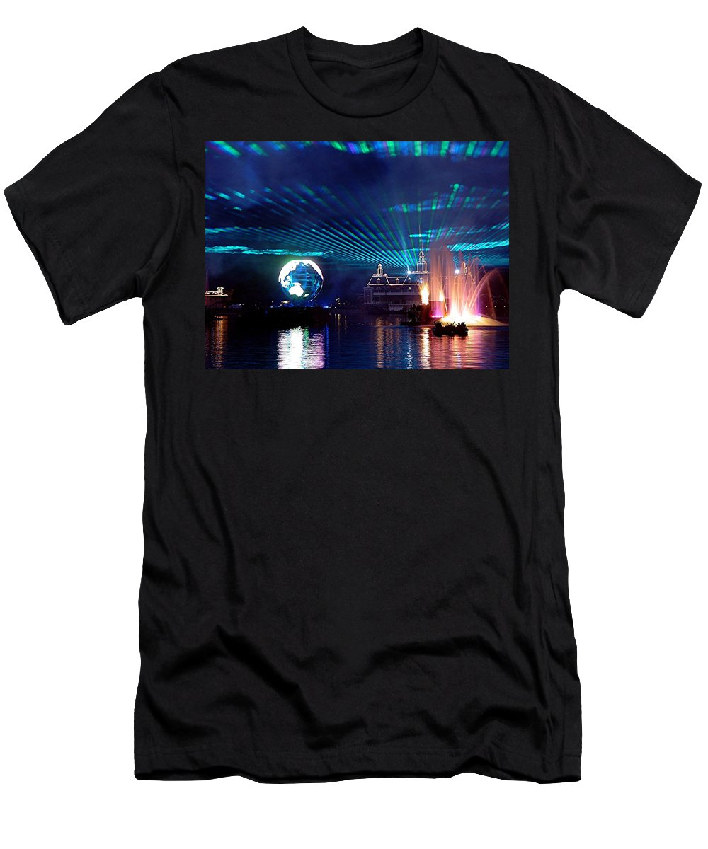 Epcot Men's T-Shirt (Athletic Fit) featuring the digital art Illuminations Reflections Of Earth by Barkley Simpson