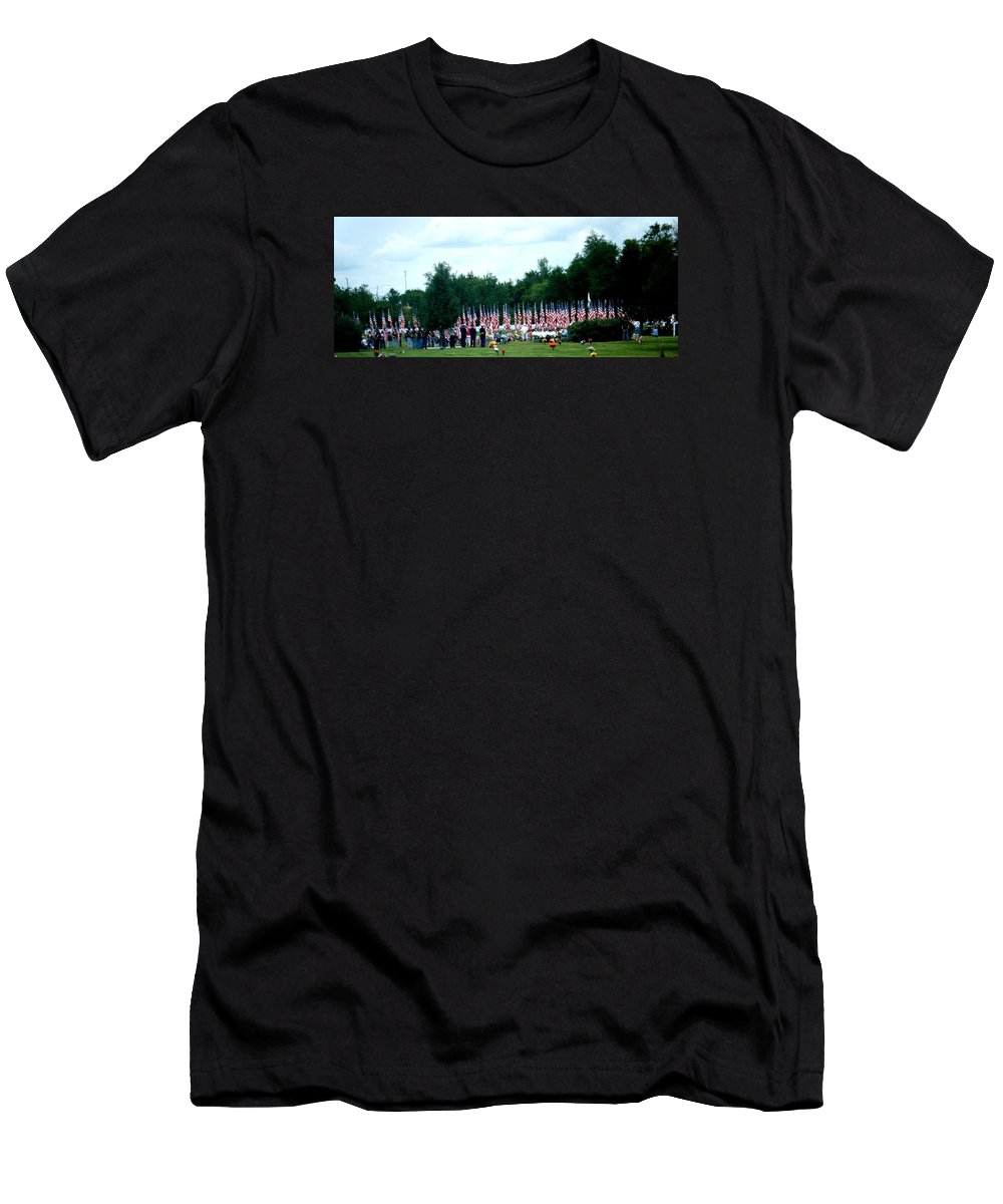 Landscapes Men's T-Shirt (Athletic Fit) featuring the photograph In Remembrance Of 9-11 by April Patterson