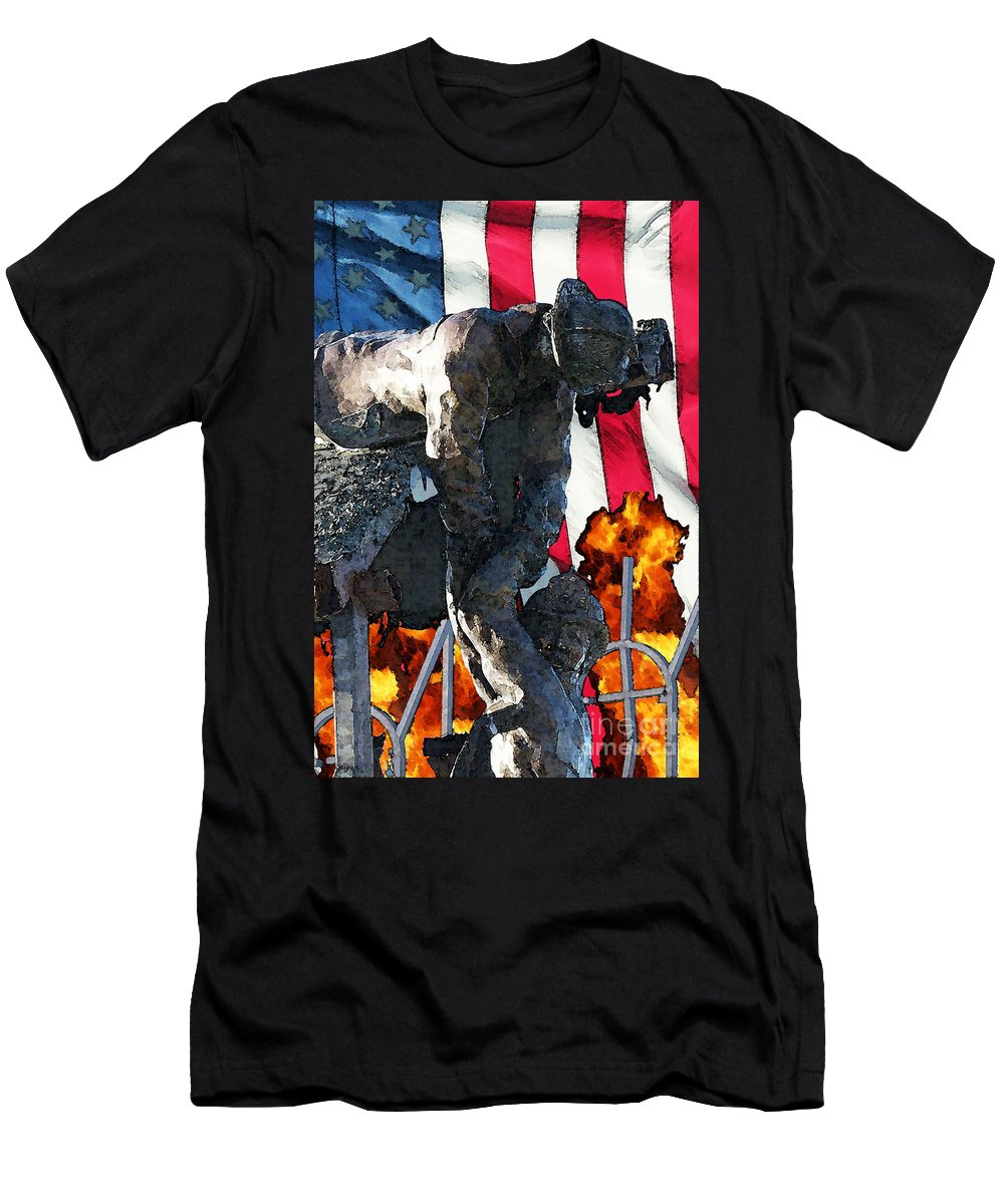 Fire Department Men's T-Shirt (Athletic Fit) featuring the digital art In Remembrance Of 911 by Tommy Anderson