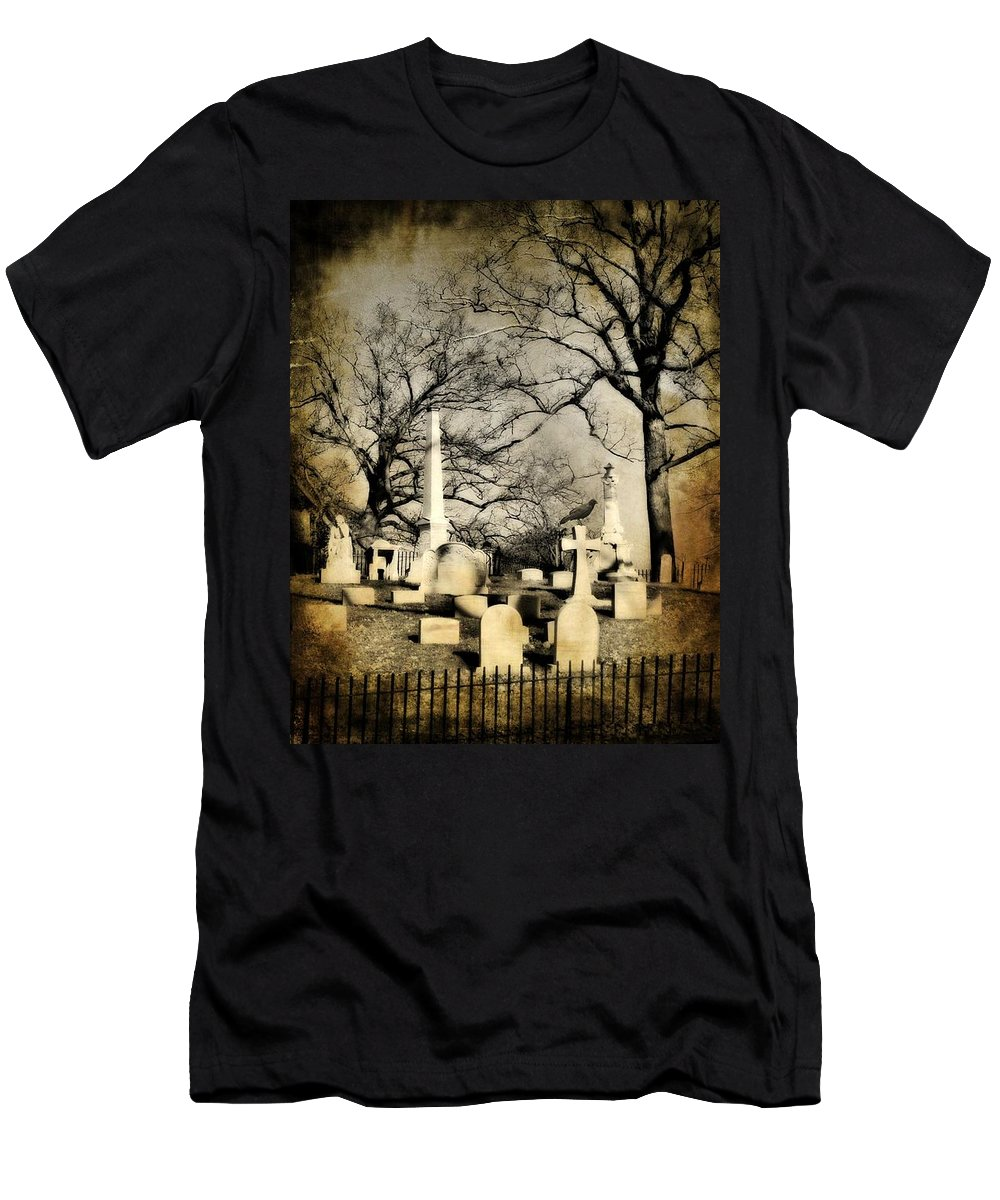 Graveyard Men's T-Shirt (Athletic Fit) featuring the photograph In View by Gothicrow Images