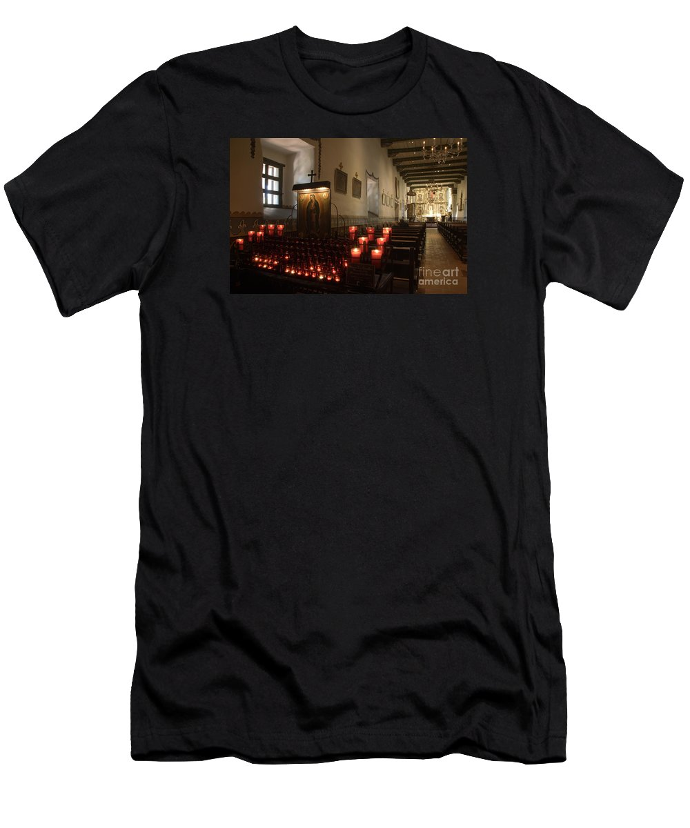 Architecture Men's T-Shirt (Athletic Fit) featuring the photograph Interior Old Mission by Bob Christopher