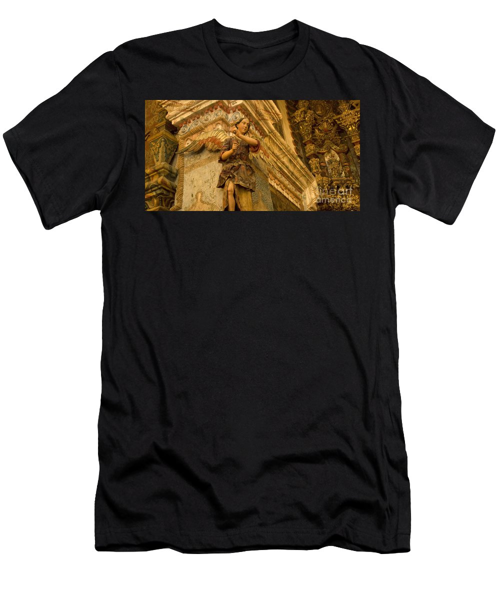 San Xavier Del Bac Mission Men's T-Shirt (Athletic Fit) featuring the photograph Interior San Xavier Del Bac by Bob Christopher