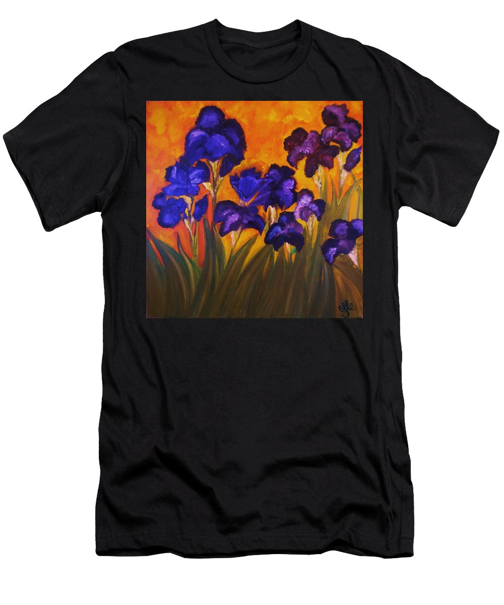 Flowers Men's T-Shirt (Athletic Fit) featuring the painting Irises In Motion by Yesi Casanova
