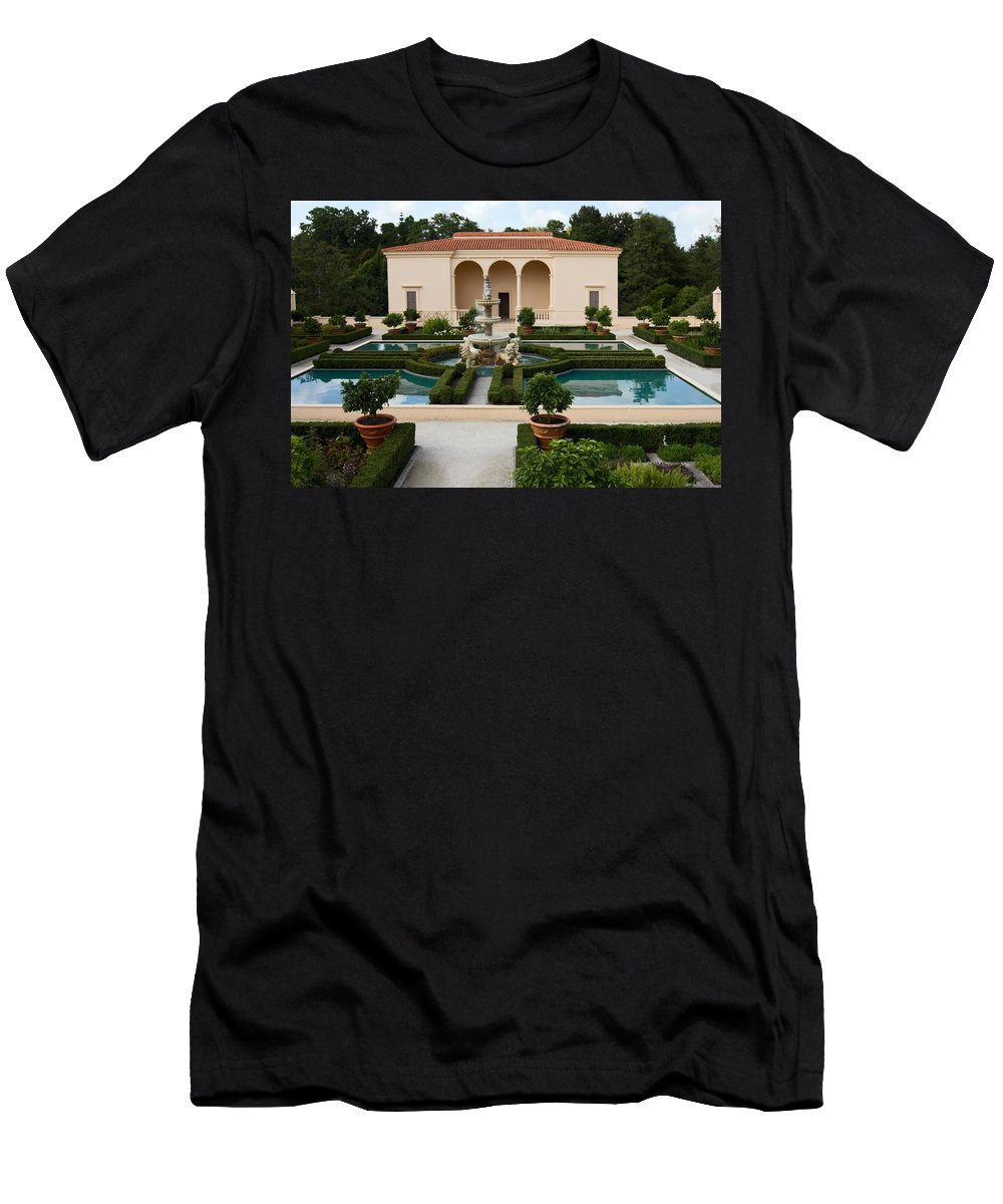 Walled Garden Men's T-Shirt (Athletic Fit) featuring the photograph Italian Renaissance Garden by Sally Weigand
