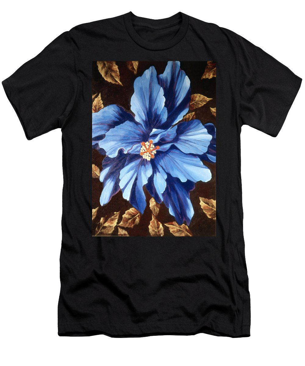 Blue Multi Petaled Hibiscus Flower Men's T-Shirt (Athletic Fit) featuring the painting Ix Chel by Kyra Belan