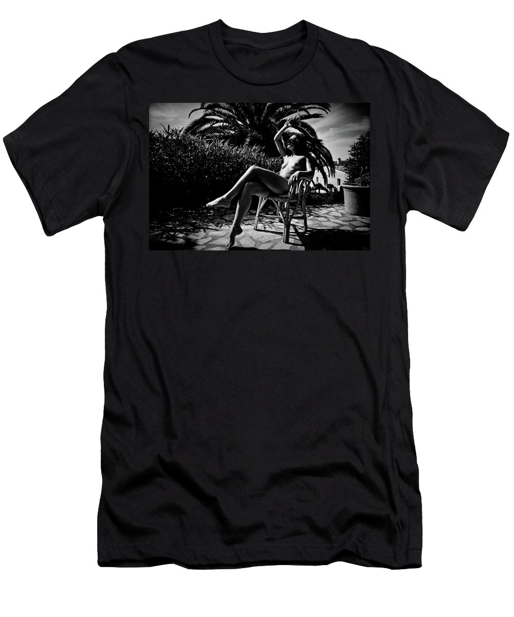 Black And White Men's T-Shirt (Athletic Fit) featuring the photograph Joy by Olivier De Rycke