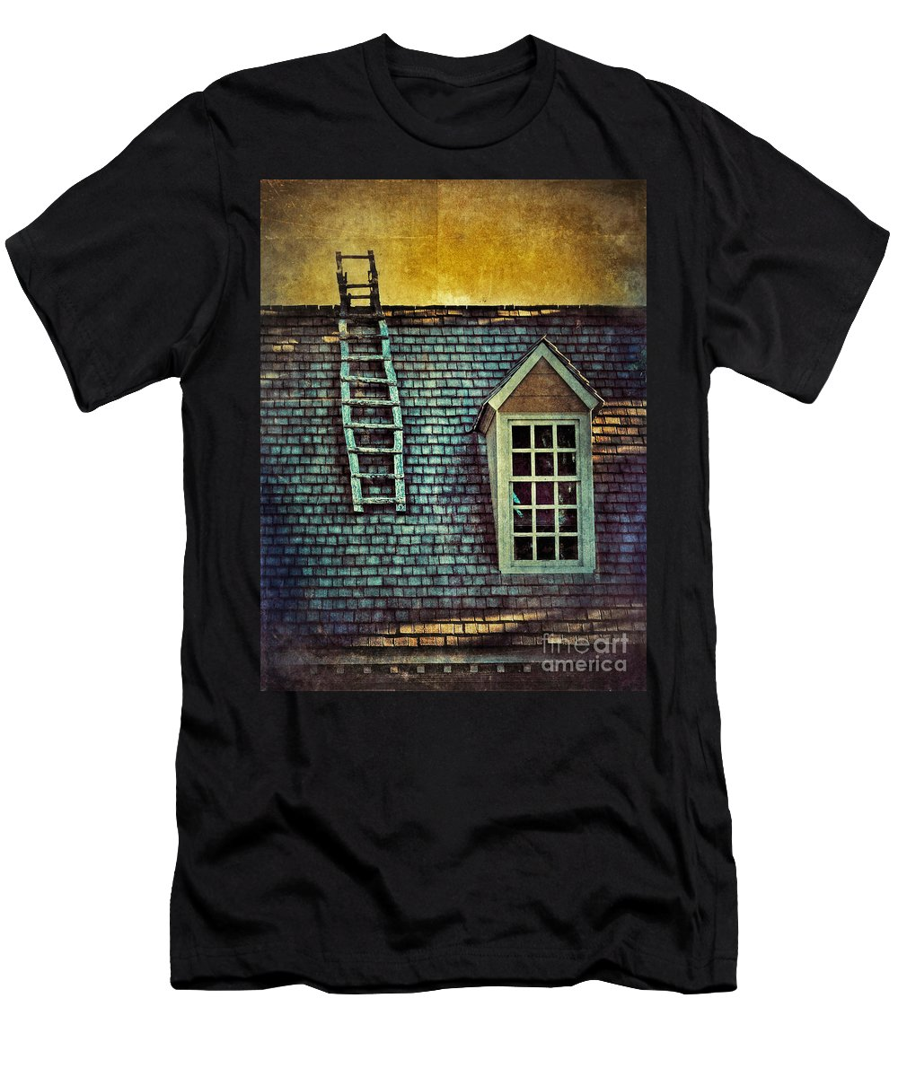 Cottage Men's T-Shirt (Athletic Fit) featuring the photograph Ladder On Roof by Jill Battaglia