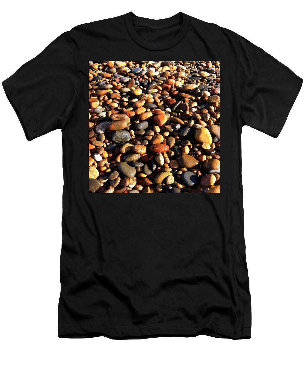 Lake Superior Men's T-Shirt (Athletic Fit) featuring the photograph Lake Superior Stones by Michelle Calkins