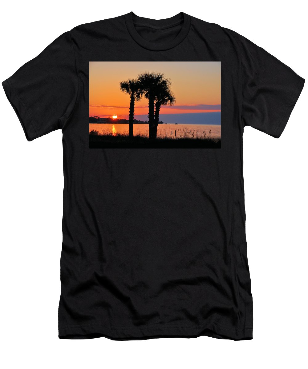 Seascapes Men's T-Shirt (Athletic Fit) featuring the photograph Land Of Heart's Desire by Jan Amiss Photography