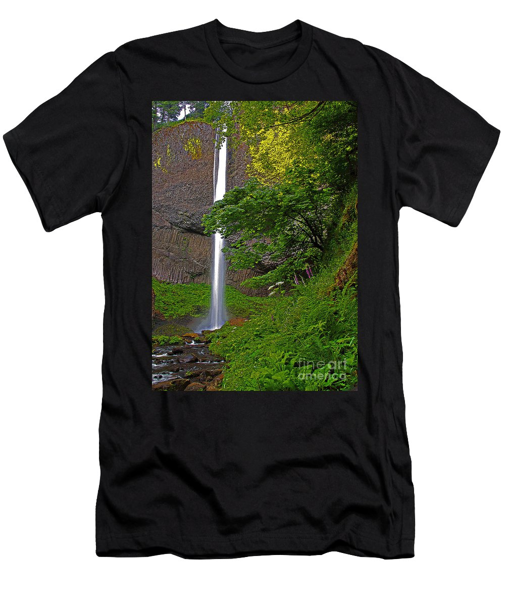 Oregon Men's T-Shirt (Athletic Fit) featuring the photograph Latourell Falls Oregon - Posterized by Rich Walter