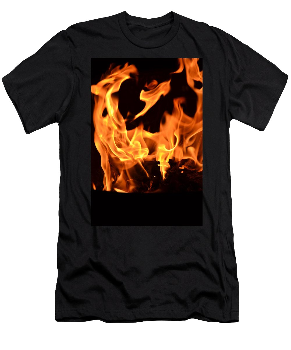 Fire Men's T-Shirt (Athletic Fit) featuring the photograph Leaping Flames by Bonnie Myszka