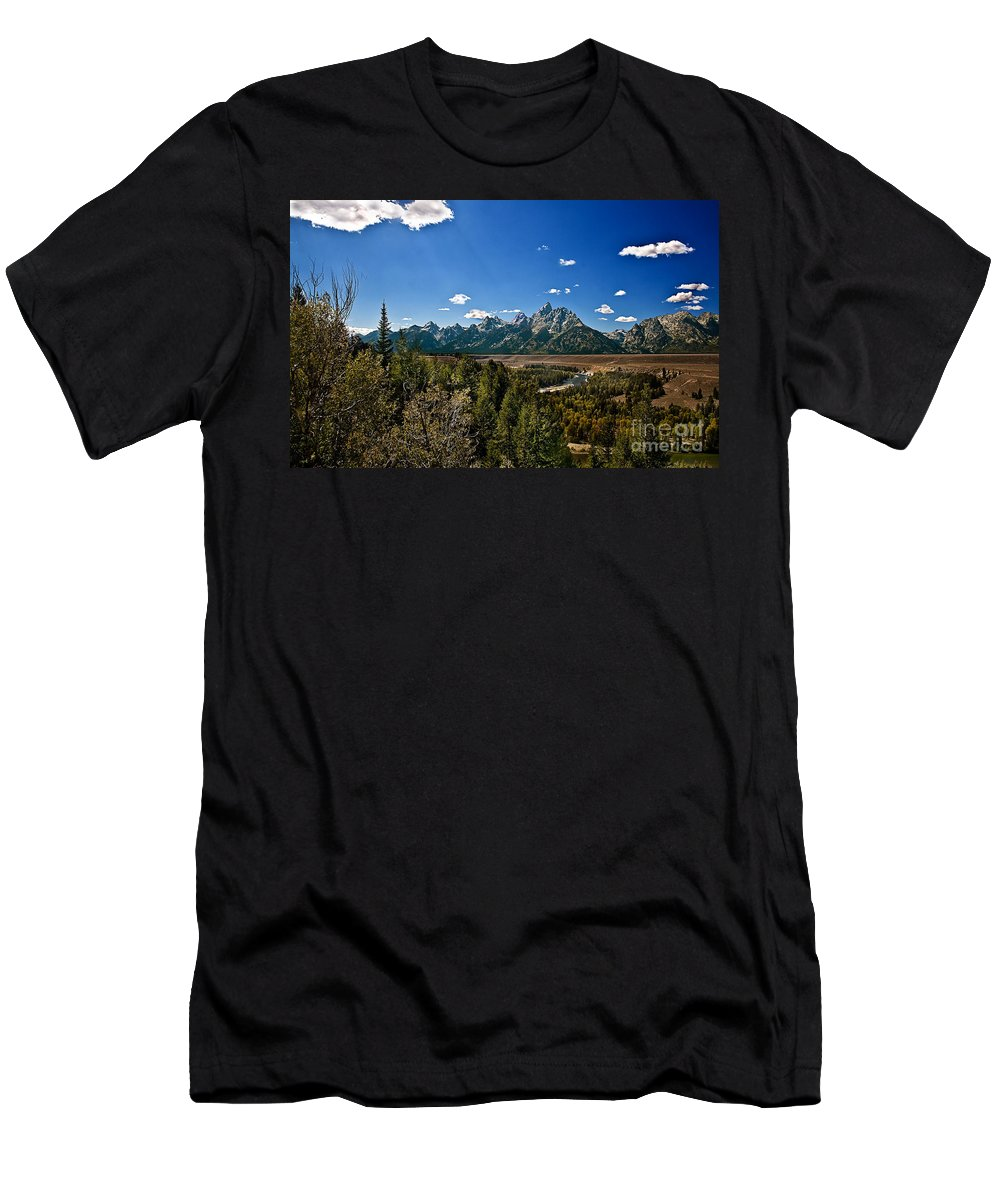 Grand Tetons Men's T-Shirt (Athletic Fit) featuring the photograph Light Rays On The Grand Tetons by Robert Bales