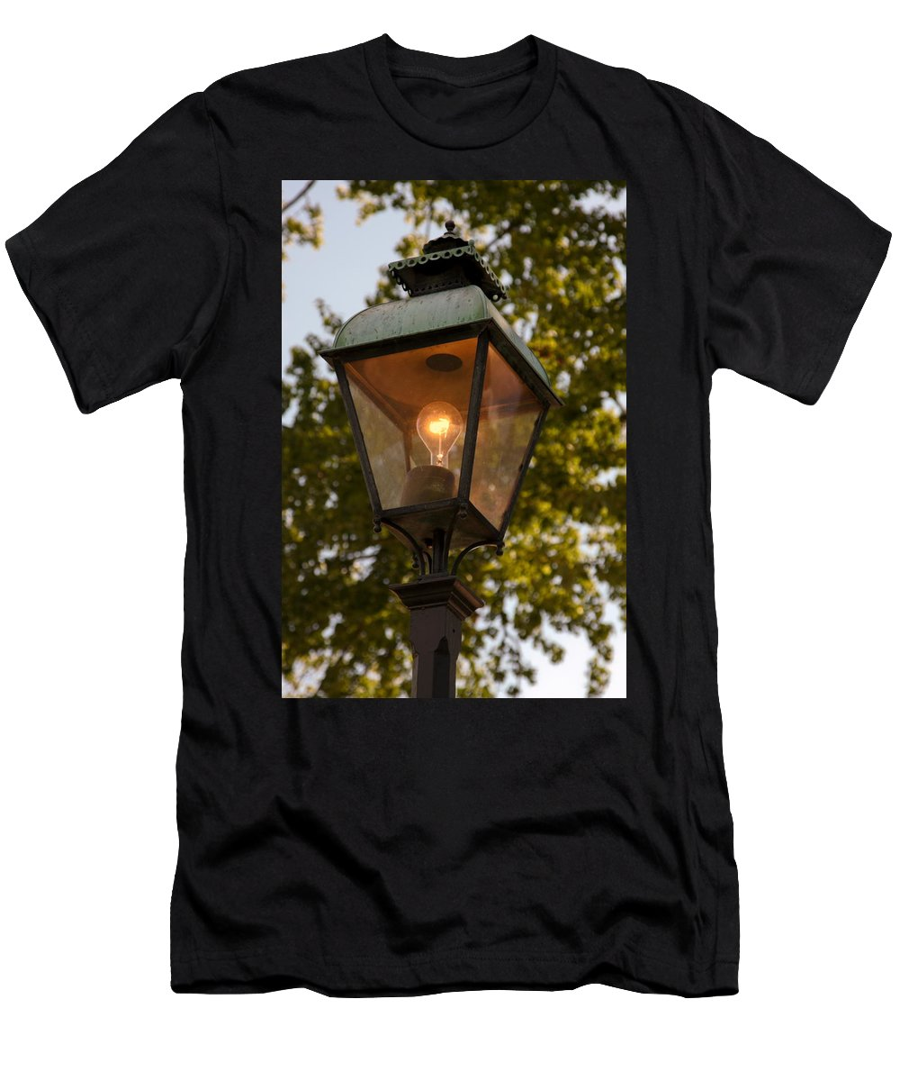 Lighted Street Lamppost Men's T-Shirt (Athletic Fit) featuring the photograph Lighted Street Lamppost by Sally Weigand