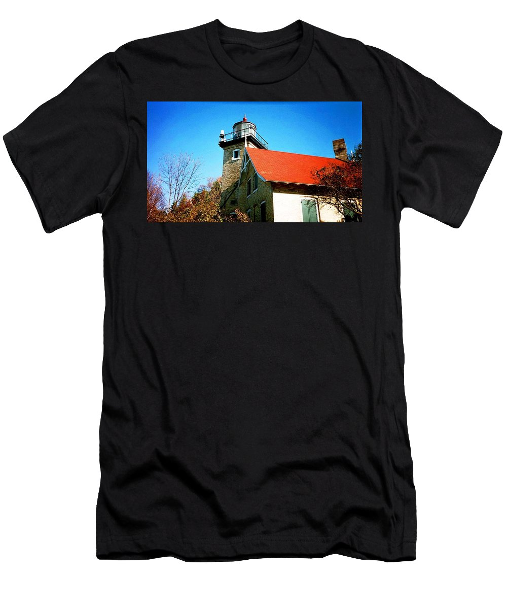 Lighthouse Men's T-Shirt (Athletic Fit) featuring the photograph Lighthouse In The Fall by April Patterson