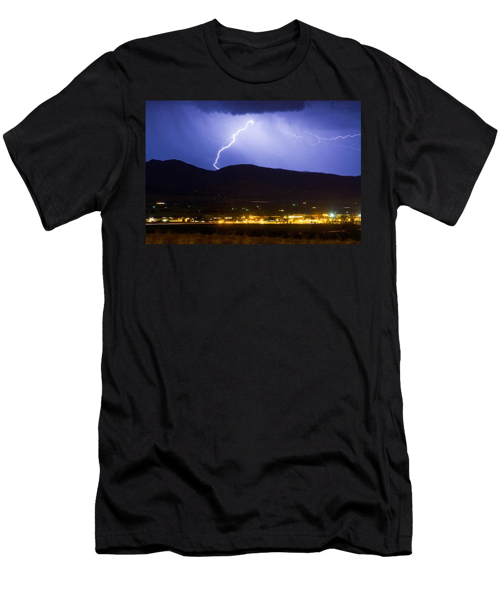 decorative Canvas Prints Men's T-Shirt (Athletic Fit) featuring the photograph Lightning Striking Over Ibm Boulder Co 1 by James BO Insogna