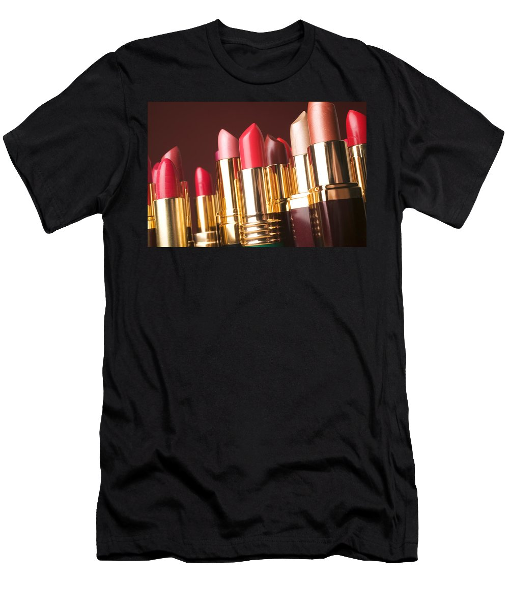 Lipstick Men's T-Shirt (Athletic Fit) featuring the photograph Lipstick Tubes by Garry Gay