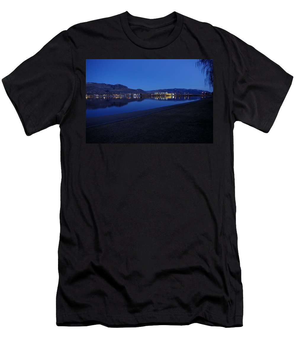 Night Men's T-Shirt (Athletic Fit) featuring the photograph Liquid Blue Reflections 2 by John Greaves