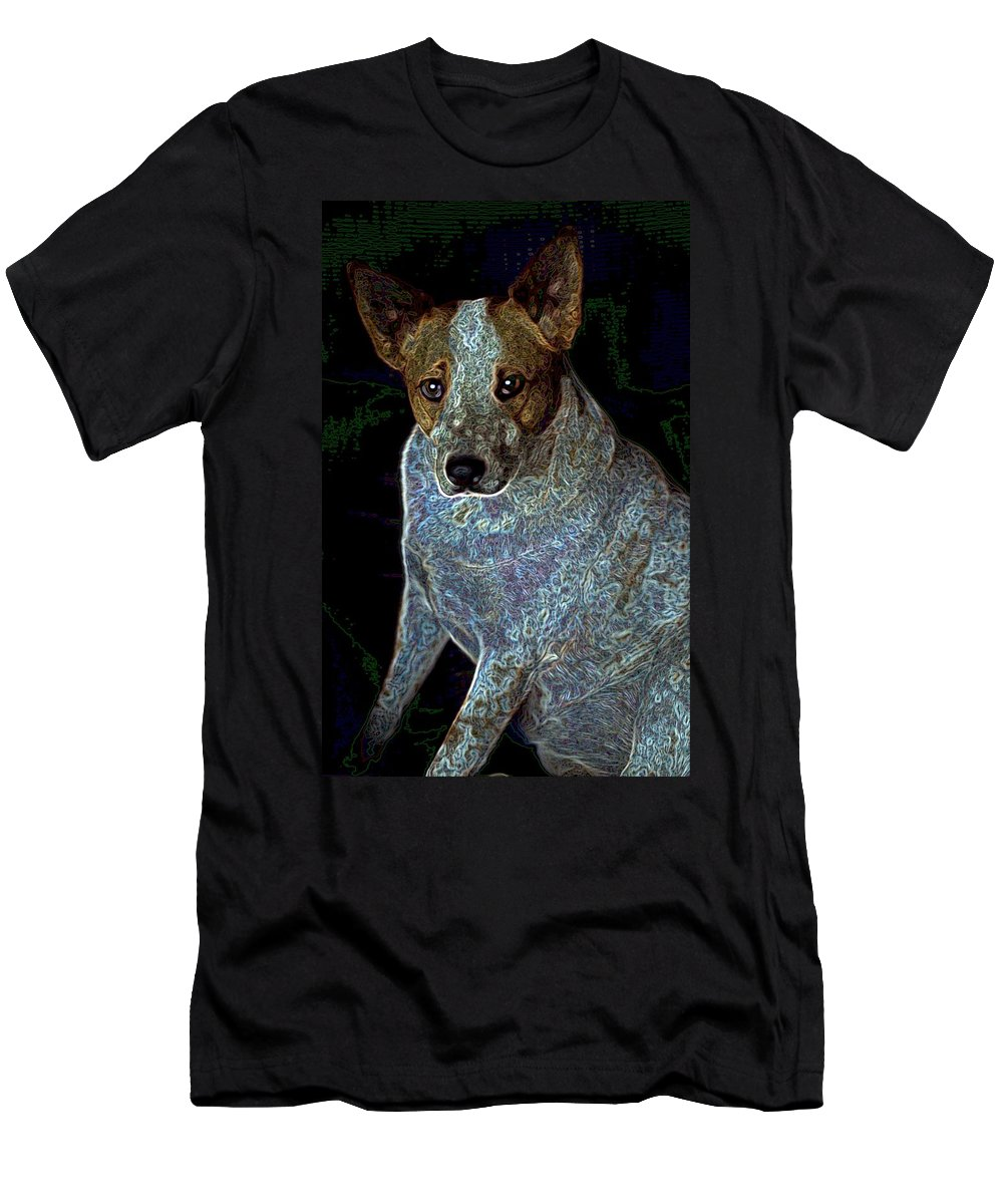 Austalian Cattle Dog Men's T-Shirt (Athletic Fit) featuring the photograph Little Blue by One Rude Dawg Orcutt