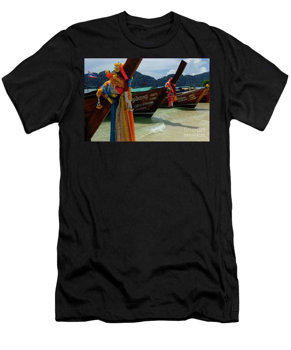 Beach Men's T-Shirt (Athletic Fit) featuring the photograph Long Tail Boats by Bob Christopher