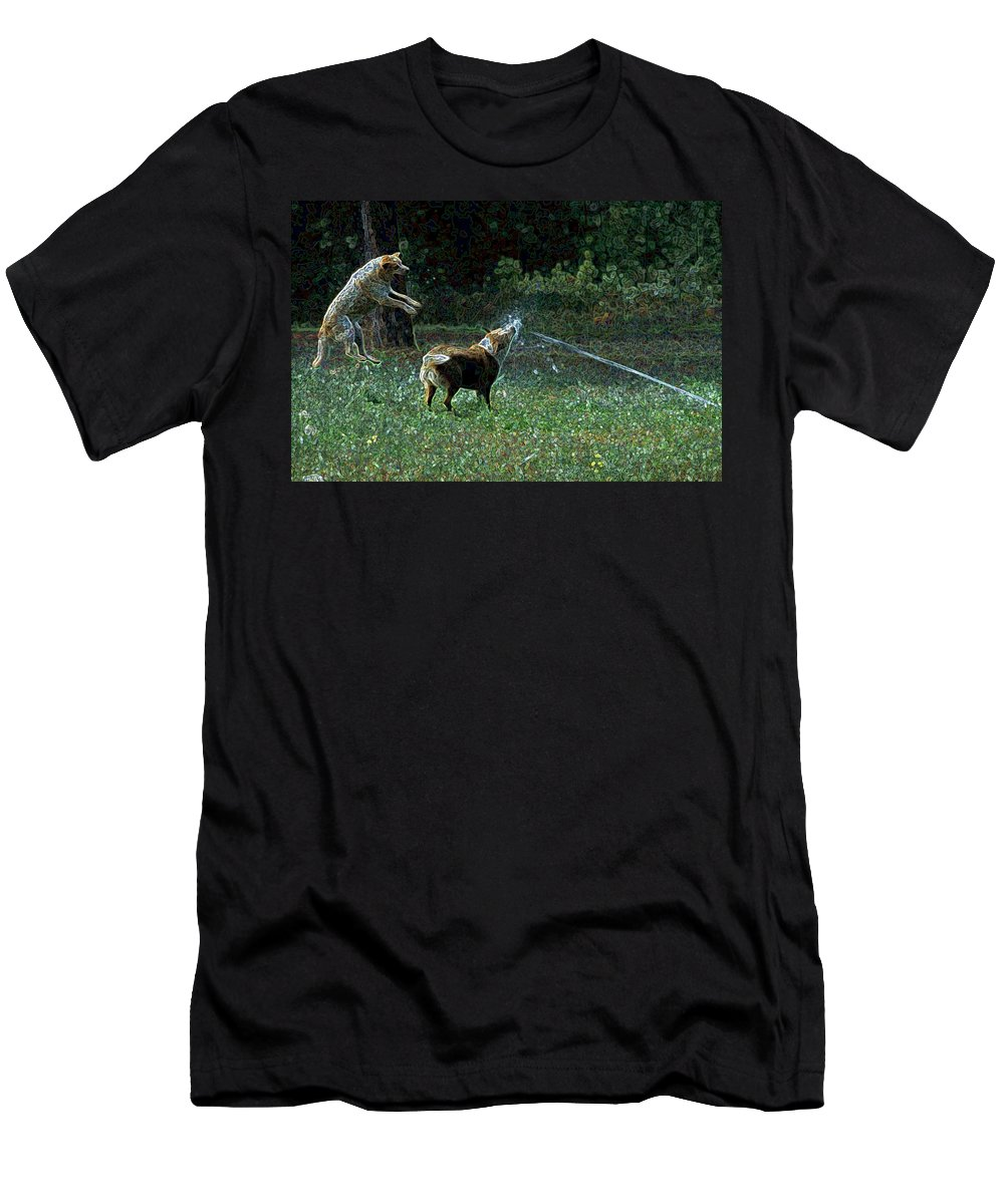 Austalian Cattle Dog Men's T-Shirt (Athletic Fit) featuring the photograph Love To Play by One Rude Dawg Orcutt